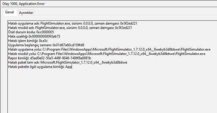flight simulator 2020 stopped working error on event viewer 0xc0000005 code