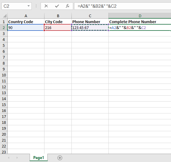 formula for the combine data in different cells in a single cell in microsoft excel
